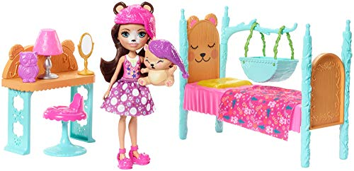 Enchantimals Bren Bear con mascota Snore en dormitorio mági