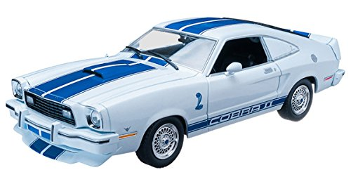 1976 Ford Mustang Cobra II Charlie's Angels (TV Series 1976–1981) White with Blue Racing Stripes 1/18 by Greenlight 12880