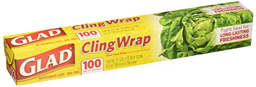 Glad Cling Wrap, Clear Food Wrap, BPA -Free, Microwave Ready, 100 Sq Ft/Roll, 33.3 Yard x 12 Inch Box (Pack of 2)