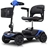 Long Range Foldable 4 Wheels Mobility Scooter, Electric Powered Wheelchair Device Compact Heavy Duty for Elderly, Senior, Aged, Adults Power Extended Battery with Charger Basket - Blue