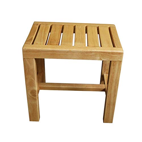 Home Shower Stool Solid Wood Bathroom Stool Non Slip Comfortable Shower Stool Bathroom Storage and Finishing Chair for Indoor and Outdoor Oak Medium