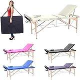 Camilla de masaje profesional 3 zonas, 180 x 56 cm - mesa de masaje en madera, cama para cosmetlogo esteticista, estetica terapia,Tattoo,porttil plegable nuevo Reiky (crema)