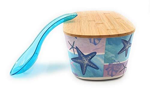 Generico Juego 2 en 1: Panera de bambú con tapa para tabla de cortar de madera para pan de mesa + reposacucharas Kitchen ► Panera (bandeja marina)