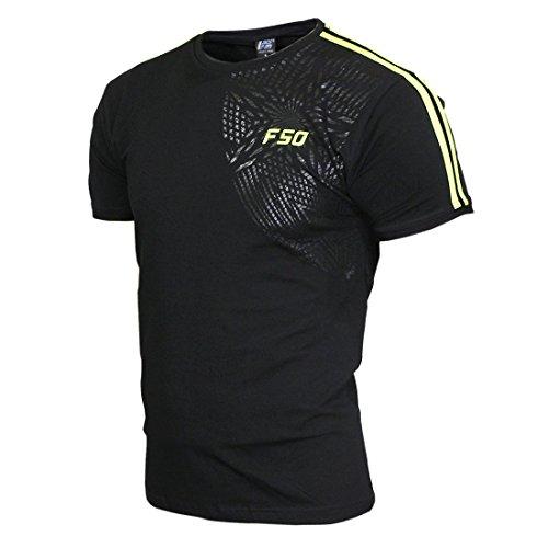 Sport Männer F50 Zwei Streifen T-Shirt Kurzarm Schwarz-Elektrisch Grün(XXL)