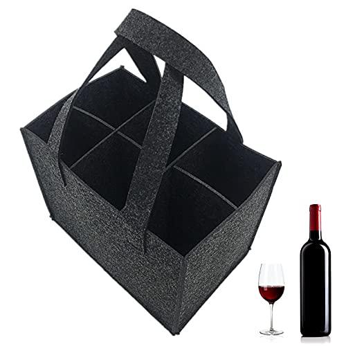 otutun Filz Flaschenträger, Weinflasche Geschenk Tasche Wein Tasche 6 Flaschen Weinflaschen Geschenk Tasche Wiederverwendbare Waschbar mit abnehmbaren Teiler Flaschenträger für Party Reise Picknick