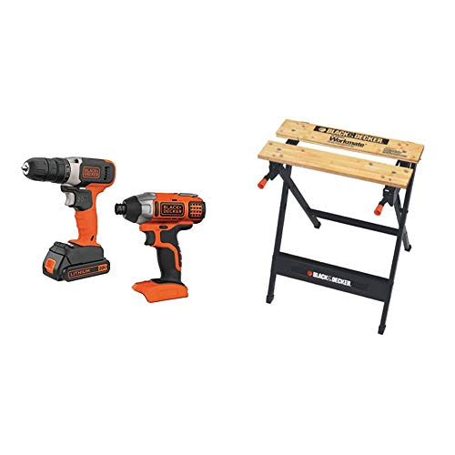 BLACK+DECKER 20V MAX Cordless Drill Combo Kit, 2-Tool with Workmate Portable Workbench, 350-Pound Capacity (BD2KIT702IC & WM125)