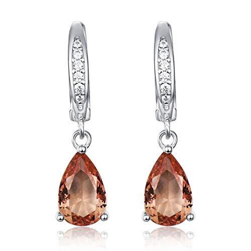 siqiwl Pendientes de clip para mujer de plata de ley 925 maciza creada cambio de color pendientes boda joyería fina naranja