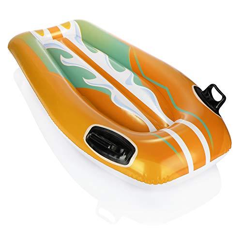 com-four® Aufblasbarer Wellenreiter - Luftmatratze Surfer - Schwimmmatratze mit Haltegriffen für Kinder in bunten Farben (01 Stück - gelb)