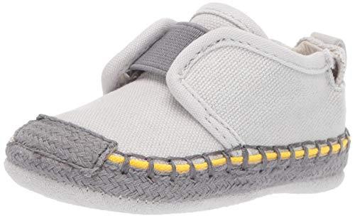 Robeez Boys' Espadrille-First Kicks Crib Shoe, James Light Grey, 18-24 Months M US Infant
