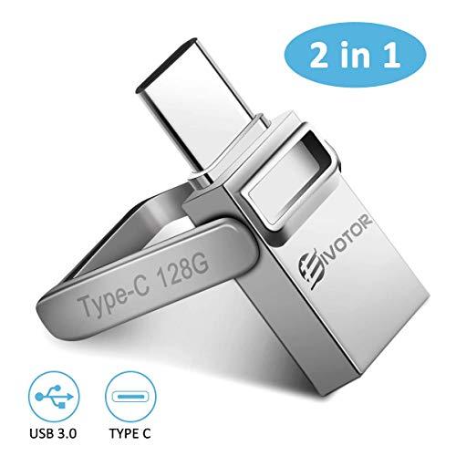 EIVOTOR USB Stick 128 GB, USB C Stick Dual Memory Stick USB 3.0 Flash Drive 2 in 1 Typ-C Pendrive Speicherstick mit Schlüsselanhänger Wasserdicht USB Flash Laufwerk für Android/Laptop/PC/Schule/Büro