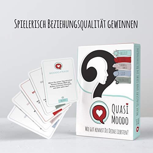 QUASI MOODO Fragekarten für Erwachsene, Freunde, Paare | Gesellschaftsspiel | Geschenk für Paare | Spielkarten | tiefgründige Gespräche