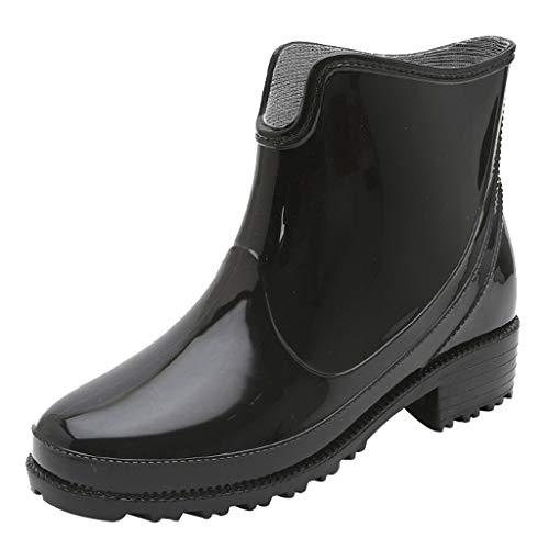 LoveLeiter Damen Kurze Gummistiefel Gummistiefelette Fashionable Regenstiefel Reitstiefelette Stiefel Rain Boot Regenstiefelette mit Blockabsatz Chelsea Boots rutschfeste Wasserdicht Stiefeletten