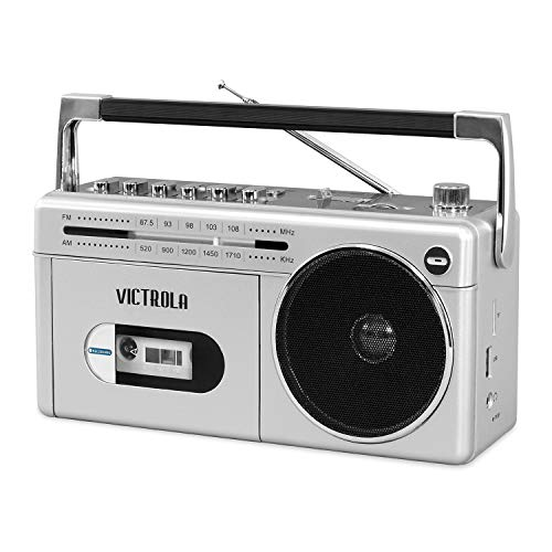 Victrola VBB-25-SLV Mini Bluetooth Boombox with Cassette Player, Recorder and Am/FM Radio, Silver