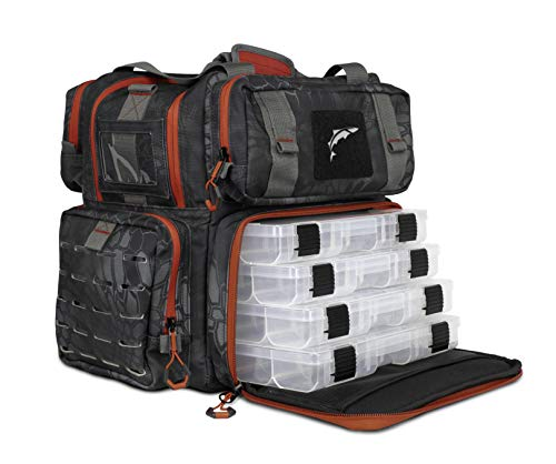 EGO Kryptek Tackle Box, Fishing Pack with 4 Accessory Trays, Water Resistant PVC, Multiple Storage Pockets, Tool Bag, G-Hook Closure System