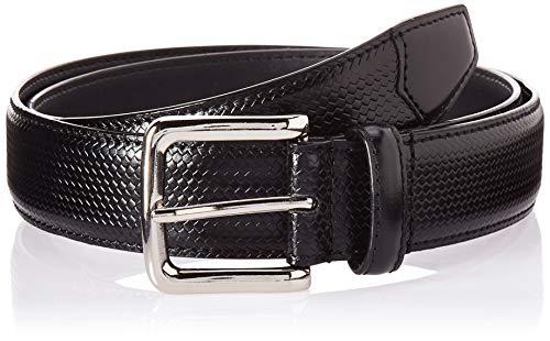 Florsheim Men's Marshall 33MM Woven Dress Leather Belt, black, 38 Black Leather Woven Belt