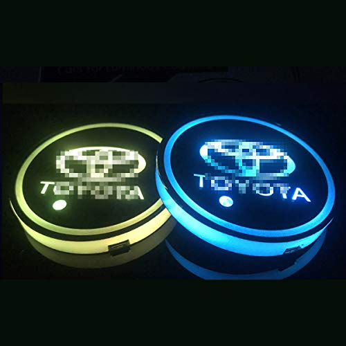 2pcs LED Car Logo Cup Holder Lights,7 Colors Changing USB Charging Mat Luminescent Cup Pad, LED Interior Atmosphere Lamp for All car Logo (T-o-y-o-t-a)