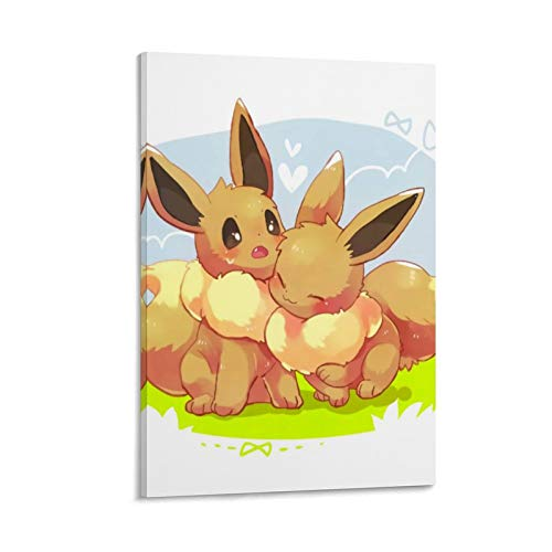 Decoración de la habitación temática anime dibujos animados Pokemon Eevee Póster de pared para decoración del hogar Decoración de pared 30 x 45 cm