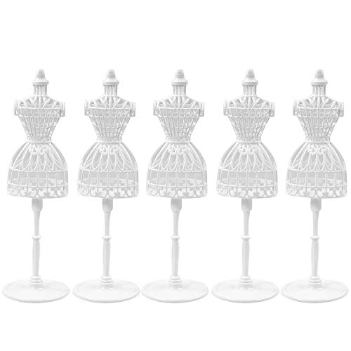 UCanaan 5 PCS Doll Dress Form Cloth Gown Plastic Demountable Display Support Holder Mannequin Model Stand Accessories for Doll Dresses