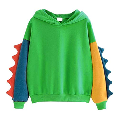 SHOBDW Mode Frauen Casual Loose Langarm Splice Dinosaur Sweatshirt Tops