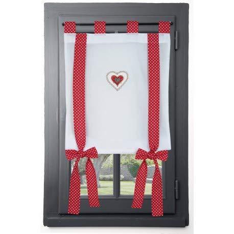 Stof Rideau vitrage déco cœur LYNA Rouge 45 x 100 cm