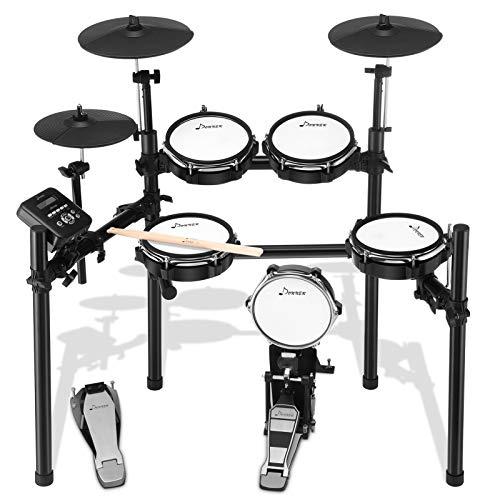 Donner Schlagzeug Elektronisch DED-200, E Drums mit 8 Teiligem Mesh Head, Sticks und Audiokabel Inklusive, Stabileres Eisen-Metall-Trägerset