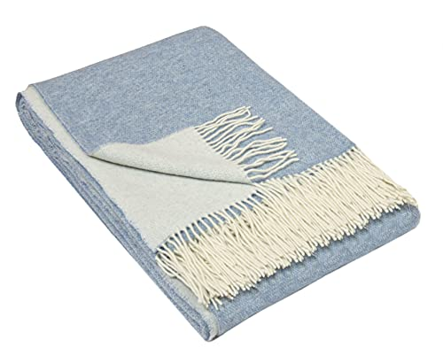 Nostra | Coperta in lana merino e cashmere Andora | 90% merino e 10% lana di cashmere | calda e morbida coperta | coperta bianca chiara | 140 x 200 cm