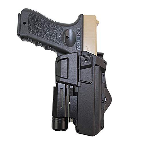 Vioaplem Cintura Pistola Pistolera Táctica Móviles Pistola Airsoft Pistoleras De Glock 17 18 con La Linterna O Láser Montado Funda Mano Derecha Pistoleras (Color : Black)