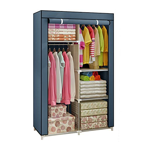 Yomeliy Closet Wardrobe Clothes Storage Organizer with Hanging Rod amp Cube Storages DIY Closet Organizers for Living Room Bedroom Gray