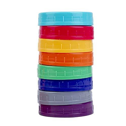 POHOVE 10 Teile Farbig Einmachglas Deckel Für Kugel, Kerr Und Mehr - Lebensmittel Qualität Pp Aufbewahrung Kappen Für Maurer/Canning Krüge -Leak-Proof & Anti-Kratzer Beständig Oberfläche, 2 Größe