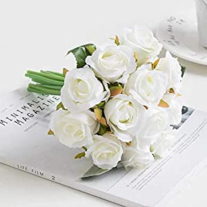 Jasion Artificial Roses Flowers 12 Heads Arrangement Silk Bouquet for Home Office Parties Bridal and Wedding Decoration (Spring White)