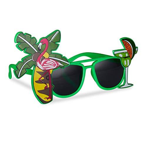 Relaxdays Gafas de Fiesta Hawaianas, Diseño Tropical con Cóctel, Flamenco y Palmera, Plástico, Verde, color, (10024246)