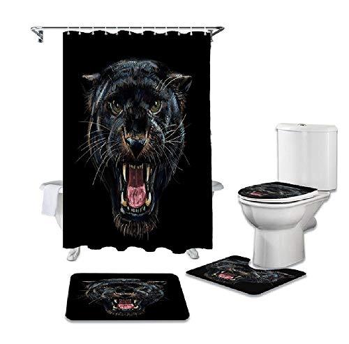 SHANQIU Animal Black Panther Langlebiger wasserdichter Duschvorhang Set Badteppiche Teppich WC Sitzbezug Pad Bodenmatte H180xB180cm