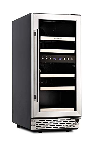 Phiestina 15 Inch Dual Zone Wine Cooler Refrigerator - 29 Bottle Built-in or Free-standing Frost Free Compressor Wine Refrigerator for White and Red Wines with Digital Memory Temperature Control