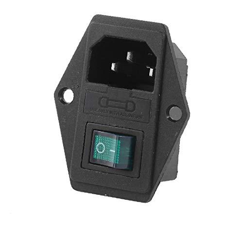 X-DREE 250VAC 15A IEC320 C14 Conector de alimentación Fusible Holer w Verde O/I Interruptor de 4 clavijas(250VAC 15A IEC320 C14 Power Connector Socket Fuse Holer w Green O/I 4-Pin Switch