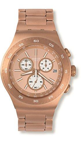 Swatch YOG408G Rosalona Reloj analógico de Cuarzo con Pantalla de Color Oro Rosa