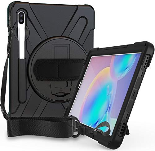 """Procase Bumper con Correa Galaxy Tab S6 10.5"""" 2019 T860/T865/T866/T867, Carcasa Rugosa con Soporte 360° Rotativo Asa de Mano, Funda Robusta Antichoque para Galaxy Tab S6 10,5"""" –Negro"""