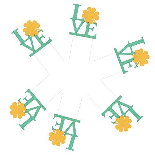 NUOBESTY Topo de bolo do Dia de São Patrício, estampa de trevo de amor, palitos de cupcake, palitos de férias, decorações de festa de sorte, decorações para festas de fim de ano, aniversário, verde, 6 peças