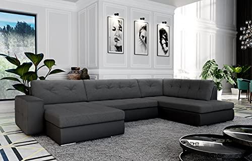 Atia – Sofá esquinero panorámico convertible en cama – en tejido y piel sintética ángulo recto (gris oscuro y negro)