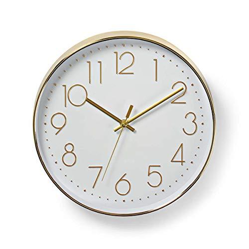 Nedis Kreisförmige Wanduhr | Durchmesser von 30 cm | Leicht ablesbare Ziffern | Gold