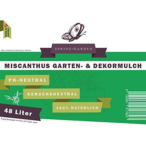 Spring Garden Miscanthus Mulch - pflegeleichter Gartendekor aus Elefantengras 100% natürlich (48 Liter) Rindenmulch-Ersatz aus Chinaschilf Garten-Mulch für gesunde Böden