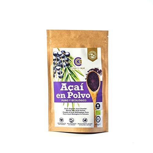 Açaí Puro Ecológico en Polvo, Pure Açaí Berry Organic Powder Biológico Orgánico, Bayas de Acai Organico en Polvo. Hecho 100% de la Pulpa de Açaí, Superalimento de Cultivo Nativo de la Amazonia… (100g)