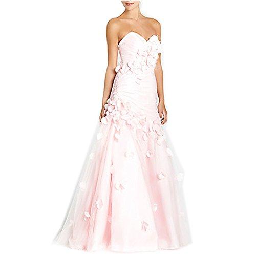 YASIOU Brautkleider Damen Lang Rosa A Linie Tüll Satin Trägerlos Eng mit Corsage Hochzeitskleid