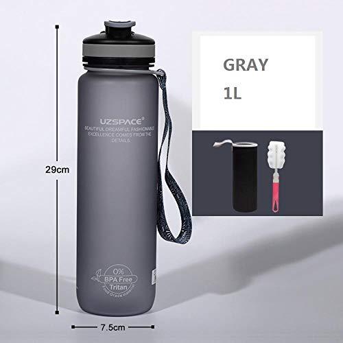 Botella de Agua de 1L Botella de Agua Botella Deportiva Exfoliante de plástico para Exteriores Color sólido Simple Hombres y Mujeres Montañismo Botella de Agua para Montar