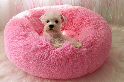JJYY Precioso Felpa Suave, Mediana, Grande, Cama para Perros, Alfombrilla para Gatos, sofá de Donut y Gatito con cojín Desmontable, Nido para Mascotas calmante Redondo Mejorado para dor