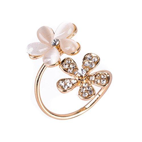 Cristal Diamante de Imitación Flor Abierto Ajustable Anillo