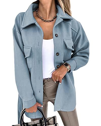YAOTT Camisa gruesa para mujer Cortavientos de lana sintética Abrigo de mezcla de lana con cinturón Abrigo ligero a prueba de viento Chaqueta ajustada que mantiene el calor Otoño Azul claro L