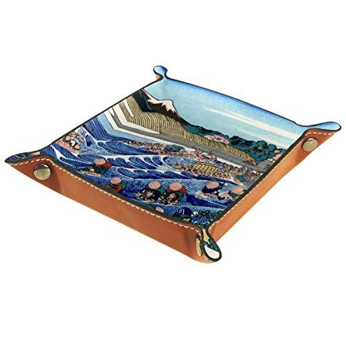 YATELI Caja de Almacenamiento pequeña, Bandeja de Valet para Hombre,Ola Japonesa del mar,Organizador de Cuero para Llaves de Caja de Monedas