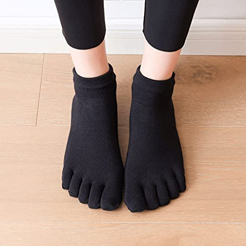 ZSQAW 2021 Mujeres Calcetines de Yoga Antideslizante Cinco Dedo Dedo Dedo algodón Calcetines Damas Ballet Danza rápida Elasticidad Aptitud Aptitud Transpirable Calcetines