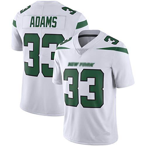 ILHF Men's Adams # 33 Jets Rugby Jersey, Fútbol Jersey Manga Corta Sport Top Cómoda Camiseta Transpirable Camiseta,Blanco,S