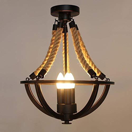 Plafond Lamp Verlichting Rustieke Hennep Touw Ijzeren Mand Semi Flush Mount Kroonluchter Zwarte Plafond Lamp met Kaars Lamp Indoor Light